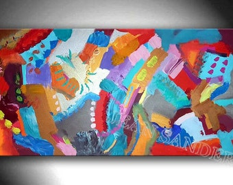 "47"" x 24"" abstract modern colourful art painting by Jean Sanders*stretched on wooden frame, colourful"