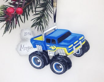 Blue and Yellow Monster Truck Personalized Christmas Ornament / Child Ornament / Little Boy Ornament / Toddler Ornament