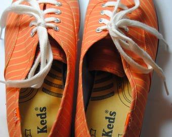 Vintage Orange Stripe Keds for Women Size 8/Vintage Shoes