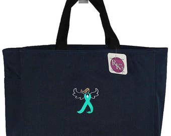 Teal Angel Awareness Ribbon Ovarian Cervical Uterine Cancer Monogram Custom Embroidered + Free Name Essential Tote Bag