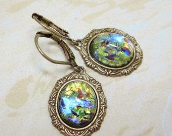 Green Fire Opal Earrings Dangles Peridot Green Fire Opal Jewelry Fantasy Mystical