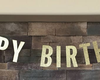 happy birthday glitter banner, glitter banner, happy birthday banner, birthday banner, birthday decoration, gold banner, personalized banner
