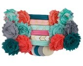 Coral Reef - DIY Mini Headband Kit - 12 DIY Shabby Flower Headbands - Baby Shower Station - Headband Bar - Craft Show - Z-MHK-009