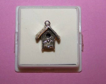 Vintage 3D  BIRD HOUSE  Sterling Charm -