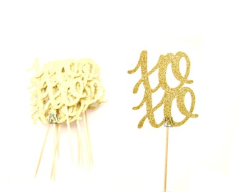 12 Gold Glitter XOXO Cupcake Toppers - Wedding Cupcake Topper, Bridal Party, Engagement Cupcake Toppers, Valentines Day Cupcake Toppers