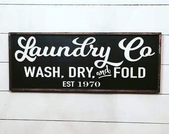 laundry co wood sign farmhouse decor - laundry room sign - farmhouse laundry sign