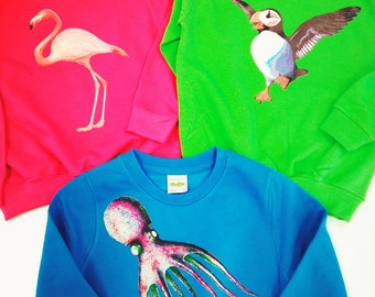 Children's, Animal, Printed, Sweatshirts, Cool, Bright, Jumpers, Kids clothes, Personalised, Gifts,