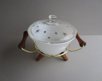 """Fire King Oven Ware White Milk Glass Bowl and Clear Glass """"StarBurst"""" Cover #407 with Brass and Wood Footed Holder"""