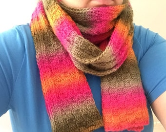 Women's scarf, ladies scarf, colourful scarf, autumn scarf, wool scarf, handmade knitted scarf, winter scarf
