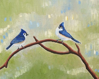 Tufted Titmouse Painting Art Print - Bird Art - Birdwatching - Abstract Nature Painting