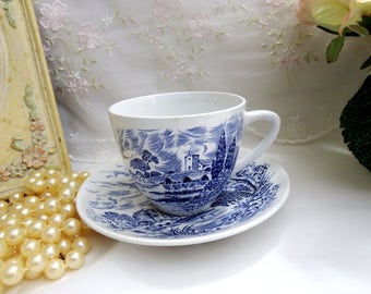 Vintage 1960s Countryside Blue by Wedgwood, Flat Cup and Saucer Set // Blue and White