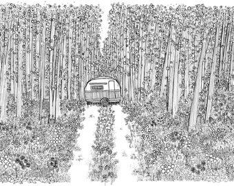 Original Ink Drawing: Happy Camper
