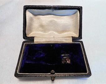 Antique Edwardian Midnight Blue Brooch Pin Presentation Jewelry Box, c. 1910
