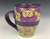 Purple and yellow ceramic coffee mug with butterflies, unique coffee mug, wheel thrown cup, colorful pottery cup, purple mug