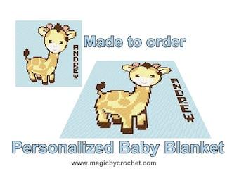 Personalized Baby Blanket, Custom name, C2C baby blanket, Corner to corner blanket, Baby shower gift
