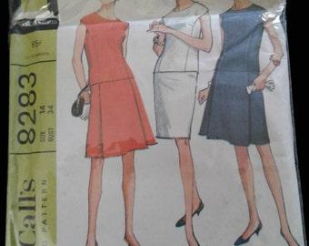 60s dress pattern 8283 McCall's Size 14