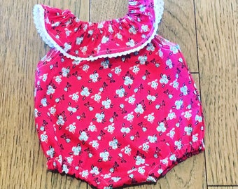 Red Lace Romper Baby Girl Romper