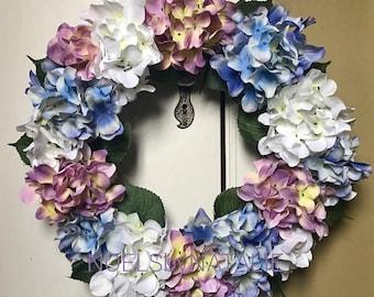 White, Purple, and Blue Hydrangea Wreath