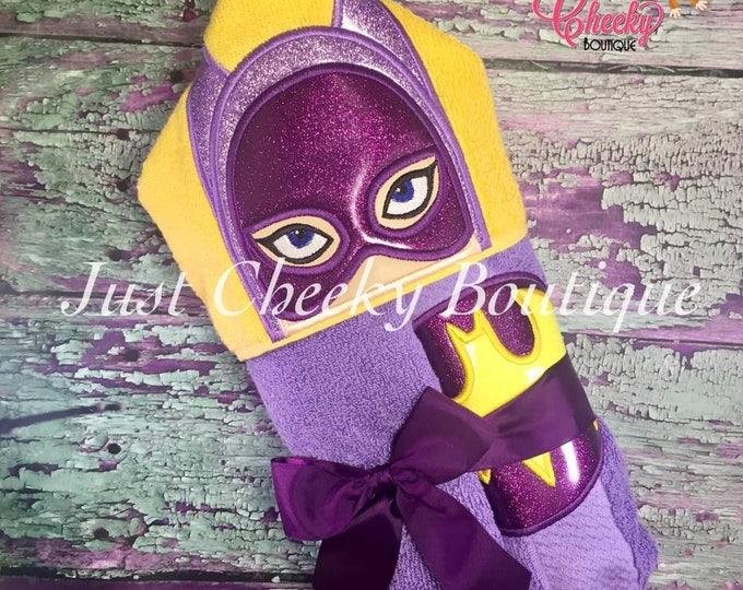 Girl Bat Hero Inspired Hooded Towel - Batgirl - Barbara Gordon - DC Birthday - Superhero Birthday