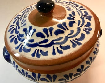 Beautiful Terra Cotta Covered Bowl Jar Crock Casserole Dish Blue and White Glaze Spanish Pottery