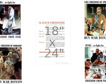 Norman Rockwell - The Four Freedoms Poster Set - US World War II Propaganda Posters (490975914)
