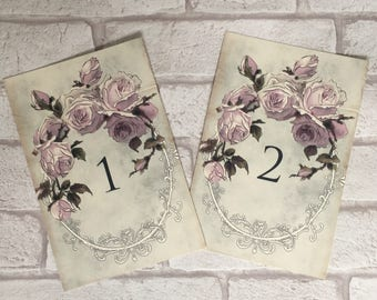 Vintage Style Wedding Table Numbers Names Cards Lilac Flower Rose