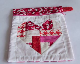 Heart Love Themed zippered pouch, Gift for friend, Make up bag, Notions bag, Valentine's Pouch