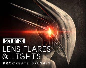 Lens flares and lights Procreate Brushes - Digital Drawing brushes - Set of 20 brushes - For the iPad app Procreate - Digital brushes