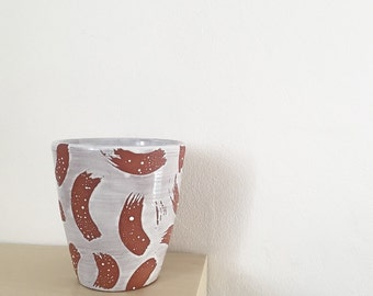 Terracotta Stripe Cup/Pot.