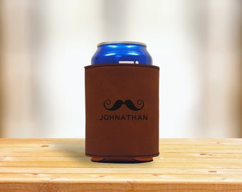 Personalized Brown Leatherette Engraved Beverage Can Sleeve, Custom Engraved Cozie