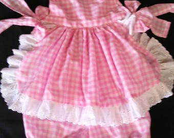 Pink Gingham baby set top & pants