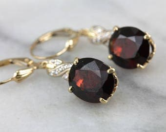 RESERVED - Second Payment - Our Finest Red Garnet and Diamond Drop Earrings D24JLW-N