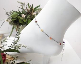Chakra Anklet,  Multi Gemstones In Oxidized Sterling Silver, Meditation Jewelry, Spiritual Healing, Reiki - Chakra Jewelry, 8.75-10.25