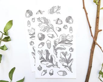acorns, oak leaves coloring stickers, acorn drawing, adult coloring, acorn coloring page stickers, oak leaf sticker, planner sticker, nature