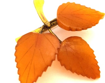 Brooch Vintage 60's Amber Baltic Genuine 3.27 Gr Honey Color Carved Leaf Stone Charming