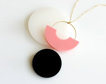 SHAPES PLAY NECKLACE | pink necklace, circle, statement necklace, minimalist necklace, geometric, long necklace, modern, arch necklace |
