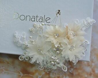 ON SALE Babies Breath Wedding Hair piece, Bridal Headpiece , Wedding Hair Comb, Beaded Lace Headpiece, Ivory  Champagne   -RAFAELLA