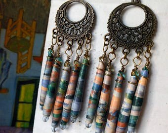 Cezanne Landscape Art Paper Bead Chandelier Earrings