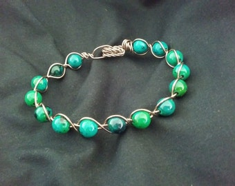 Chrysocolla Colored Bead Wire Wrapped Bracelet