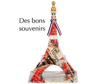 "Eiffel Tower - ""Des Bons Souvenirs"" - Decoupage on wood - Mixed media art piece"