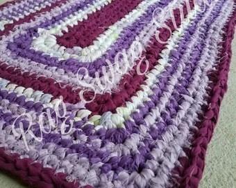 Shabby Chic Rag Rug / Kitchen Decor / Bathroom Decor / Upcycle / Purples / RagSwagStudio