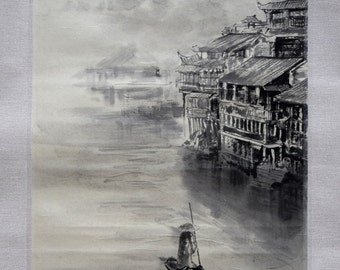 Chinese river landscape. Chinese old city. Original sumi-e painting. Chinese brush art. Watercolor painting. Abstract art.