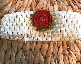 Crochet Ivory Headband with Red Rose