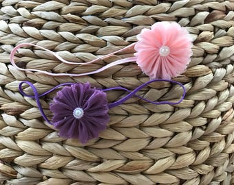Pink and Purple Stretchy Headband Set