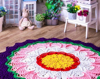 """Big crochet colored multicolor variegated rug  (59 in), doily rug, cottage carpet, motley rug, rustic floor decor by LaceMats """"LaceGlade"""""""