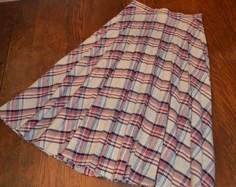 Vintage wool red navy plaid cream pleated preppy skirt XS/S extra small small