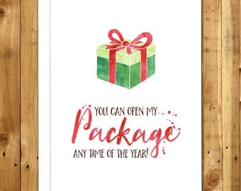 Funny Christmas Card For Him - For Her- Boyfriend Christmas Card - For Girlfriend - Funny Holiday Card - Naughty Christmas - Open My Package