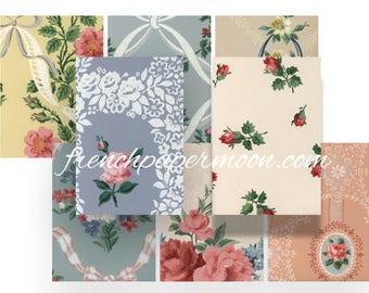 Vintage Rose Wallpaper, Shabby Wallpaper ATC, Rose Wallpaper printable, Doll House Wallpaper Collage Sheet