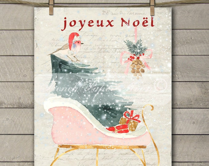 Digital Christmas Sleigh, Snow, French Graphics, Watercolor Christmas Pillow Digital Transfer Graphic