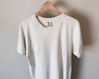 Perfectly Distressed Basic Off White Tee